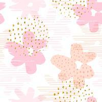 Abstrakt blommigt sömlöst mönster med trendiga handdragen texturer. vektor