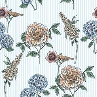 Blommigt sömlöst mönster. Trendiga handdragen texturer