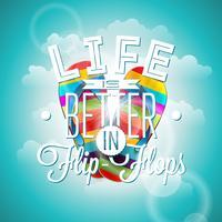 Livet är betterin flip-flops inspiration citationstecken på blå bakgrund.