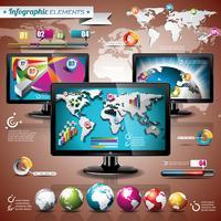 Vektortechnologiedesignsatz von infographic Elementen