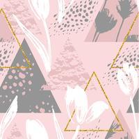 Abstraktes nahtloses mit Blumenmuster mit Tulpen und geometrischen Elementen.