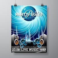 Party Flyer Illustration för ett musikaliskt tema med högtalare och diskoboll.