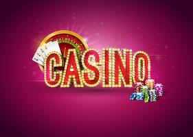 Casino illustration med roulette hjul, pokerkort, och spelar chips