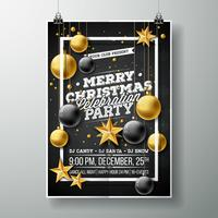 Frohe Weihnachten Party Flyer Illustration
