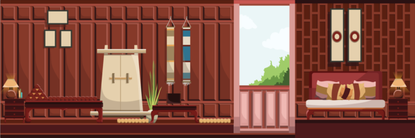 Retro- Thailand-Artwohnzimmer mit alten Möbeln, flache Designvektorillustration.