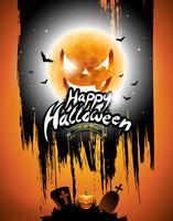 Vector glückliche Halloween-Illustration mit schwarzem Himmel- und Kürbismond auf orange Hintergrund.