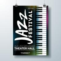 Jazz Music Festival Flygdesign med pianotangentbord vektor