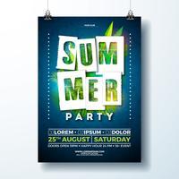 Sommerfest Flyer Design mit tropischen Blättern und Blüten vektor