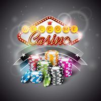 Vector Illustration auf einem Kasinothema mit der Farbe, die Chips spielt und Anzeige beleuchtet