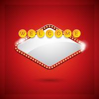 Vector Illustration auf einem Kasinothema mit beleuchtender Anzeige und willkommenem Text