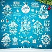 Kalligrafisk och typografisk juldesignsats vektor
