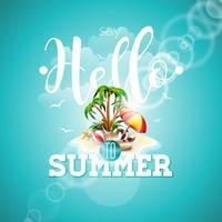 Säg Hello to Summer inspiration citat paradis ön på blå bakgrund.