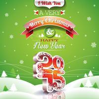 Vector Weihnachtsillustration mit typografischem Design auf Landschaftshintergrund