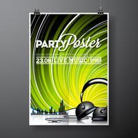 Illustration för musikaliskt tema med hörlurar på grunge bakgrund. vektor