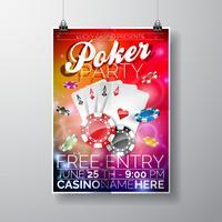 Vector Party Flyer design på ett kasinotema med chips och kort på färgbakgrund.