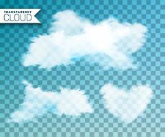 Isolerat moln som sätts på transparent bakgrund vektor