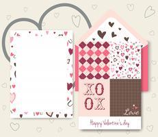 Ansammlung rosafarbene weiße farbige Valentinstagkarte vektor