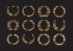 Sats av guldprislaurellkransar och grenar vektor