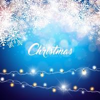 Frohe Weihnachten-Illustration auf glänzendem Schneeflocke-Hintergrund
