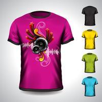 Vektort-shirt eingestellt auf ein musikalisches Thema mit Lautsprechern vektor