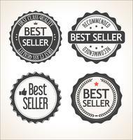 Retro- Weinleseausweis des Bestsellers und Aufklebersammlung vektor