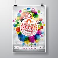 Fröhliche Weihnachtsfestillustration mit Feiertagstypographie entwirft in der abstrakten Glaskugel auf glänzendem Farbhintergrund.