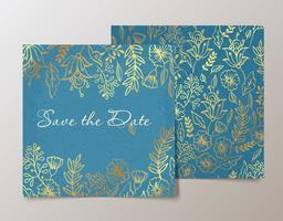 Trendigt kort med blomma för bröllop, spara datuminbjudan. vektor