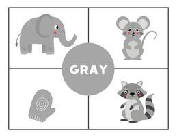 Erlernen der Grundfarben für Kinder. grau. vektor