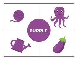 Erlernen der Grundfarben für Kinder. Violett. vektor