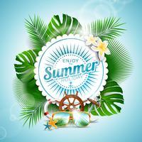 Vektor Njut av sommarferie typografisk illustration med tropiska växter