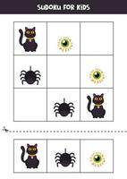 Sudoku-Spiel für Kinder mit Halloween-Bildern. vektor