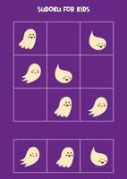 Sudoku-Spiel für Kinder mit Halloween-Geistern. vektor