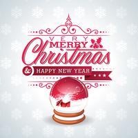 Vector Weihnachtsillustration mit magischer Schneekugel und typografischem Design auf Schneeflockenhintergrund.