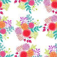 Ljusrosa rosor sömlöst mönster vektor