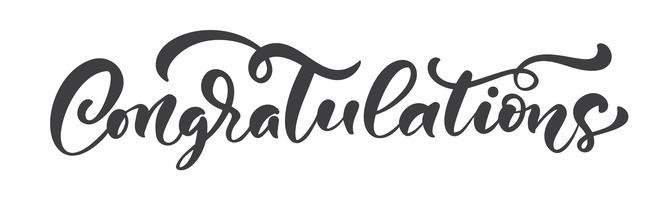 """Handritad kalligrafi bokstäver text isolerad """"Grattis"""" vektor"""