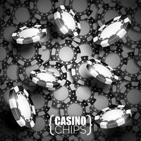 Vector Illustration auf einem Kasinothema mit den schwarzen spielenden Chips.
