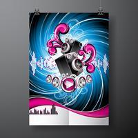 Vektor illustration på ett musikaliskt tema med högtalare på abstrakt grunge bakgrund.
