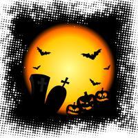 Vektor-Illustration zu einem Halloween-Thema mit Kürbissen vektor