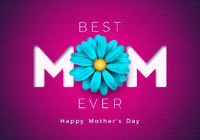 Glückliche Muttertagsgrußkartenillustration mit blauer Blume