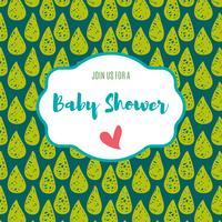 Baby shower inbjudningskort grön blixtfärg. vektor