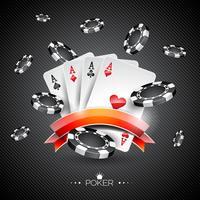 Vector Illustration auf einem Kasinothema mit Pokersymbolen und Pokerkarten auf dunklem Hintergrund.