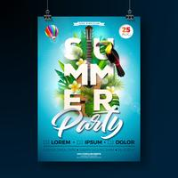 Summer Beach Party Flyer Design med akustisk gitarr vektor