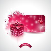 Vektor God jul helgdag illustration med magisk presentförpackning och snöflingor på röd bakgrund.