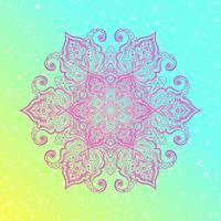 Mandala. Blom tappning rund amulett tatuering vektor