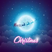 Frohe Weihnachten Illustration mit dem Fliegen von Santa Sleigh