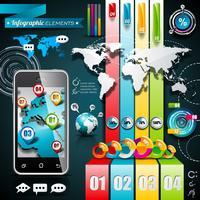 Vektordesignsatz von infographic Elementen. Weltkarte und Informationsgrafiken