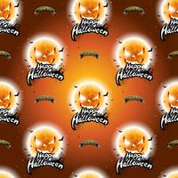 Glad Halloween sömlös mönster illustration med måne läskiga ansikten på mörk orange bakgrund.