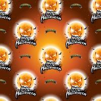 Glückliche nahtlose Musterillustration Halloweens mit furchtsamen Gesichtern des Mondes auf dunkeloranges Hintergrund. vektor