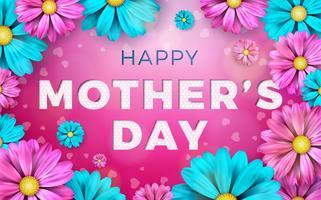 Lycklig mors dag hälsningskortdesign