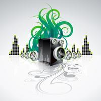 Glänzender Hintergrund des abstrakten Vektors mit Sprechern und Gestaltungselementen.